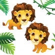 Animals Collections: Lions with Tropical Frame — Stock Vector #20138285