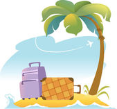 Tropical Landscape With Palm Tree and Suitcases — Stock Vector