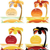 Set of Tropical landscapes with palm trees — Stock Vector