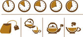 Tea Brewing Scheme: Cup, Time, Teapot and Tea Bags — Stock Vector
