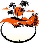 Vector paisaje tropical banner — Vector de stock