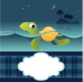 Card With Funny Turtle — Stockvektor