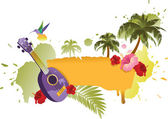 Tropical Banner With Palm Trees, Ukulele and Flowers — Stock Vector