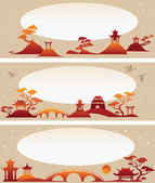 Set banners: Abstract Asian Landscapes — Stock Vector