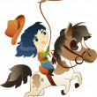 Stock Vector: Girl on Small Horse with lasso: Vector Illustration
