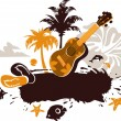 Tropical Banner with a Flower, Palm Trees and Ukulele — Stock Vector #21502903