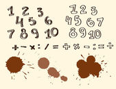 Set of Hand drawn Vector Numbers — Stock Vector