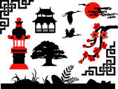 Collection of Chinese Garden Silhouettes — Stock Vector