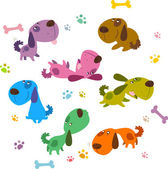 Tecknade hundar samling — Stockvektor