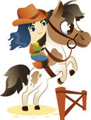 Cowgirl on Small Horse, jumping a Hurdle: Image Isolated on Whit — Stock Vector
