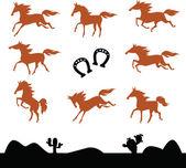 Samling silhuetter av hästar — Stockvektor