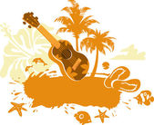 Tropical Banner with a Flower, Palm Trees and Ukulele — Stock Vector