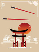 Template Design of Asian Menu: Abstract Landscapes with Gate — Stock Vector