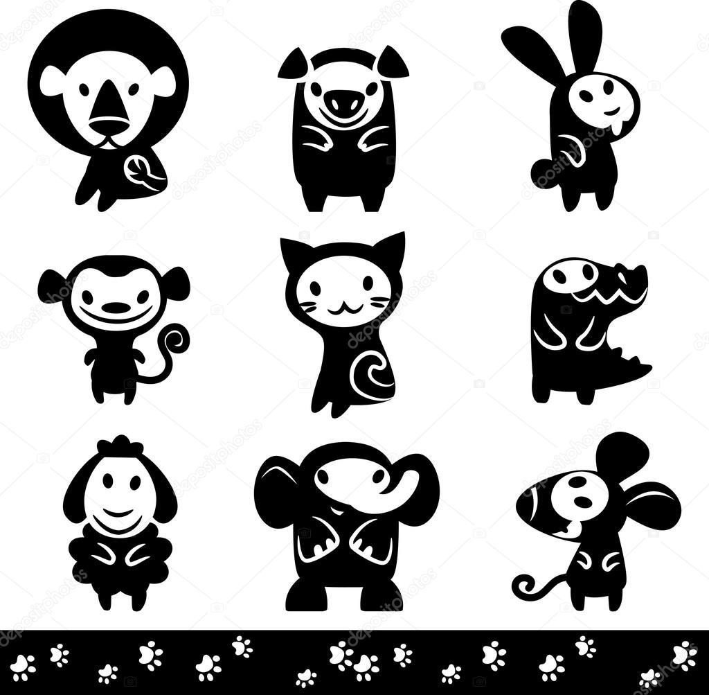 动物园的动物剪影的集合