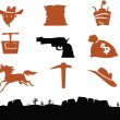 Royalty-Free Stock Vector Image: Wild West Cowboys Icons