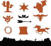 Wild West Cowboys Icons — Stock Vector