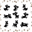 Collection of cartoon dogs silhouette. Vector. — Stock Vector