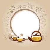 矢量插画与杯子和甜点蛋糕 — 图库矢量图片