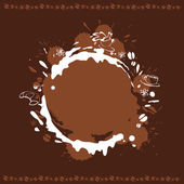 Abstract Background with Cup, Beans and Coffee Stain — Stock Vector