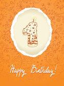 Všechno nejlepší k narozeninám karta s číslem svíčka — Stock vektor