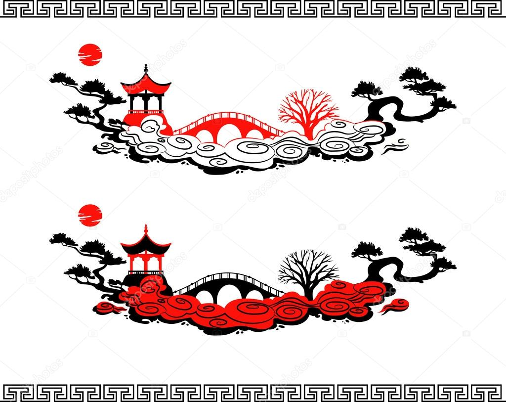 Set of vector chinese landscapes stock vector for Chinese vector