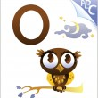 Animal alphabet for the kids: O for the Owl — Grafika wektorowa