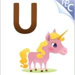 Animal alphabet for the kids: U for the Unicorn — Stock Vector