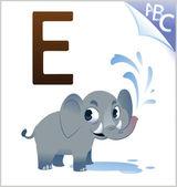 Animal alphabet for the kids: E for the Elephant — Stok Vektör