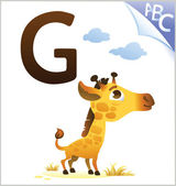 Animal alphabet for the kids: G for the Giraffe — Stockvektor