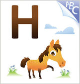 Animal alphabet for the kids: H for the Horse — Vector de stock