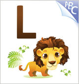 Animal alphabet for the kids: L for the Lion — Stock Vector