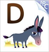 Animal alphabet for the kids: D for the Donkey — Vector de stock