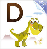 Animal alphabet for the kids: D for the Dinosaur — Vettoriale Stock