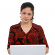 Woman on laptop — Stockfoto