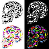 Skull in four versions — Stock Vector