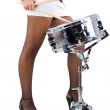 Beautiful brunette and snare drum — Stock Photo