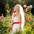 Stock Photo: Very beautiful blonde in wedding dress.