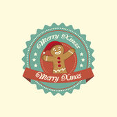 Gingerbread Man christmas label — Vector de stock