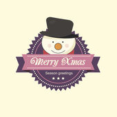 Christmas label with a snowman — Stock Vector