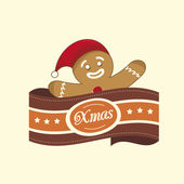 Gingerbread Man christmas label — Stockvektor