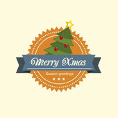 Pine tree christmas label — Vetorial Stock