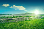 Sunshine over a beautiful countryside landscape — Stock Photo