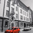 Red car in front of a hotel — Stock Photo #51416197
