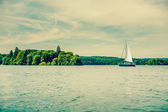 Small sailboat on a lake — Stock Photo