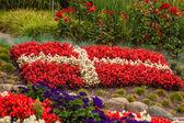 Danish flag made out of flowers — Zdjęcie stockowe