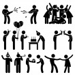 Friend Party Celebration Birthday Icon Symbol Sign Pictogram — Imagen vectorial