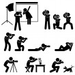 Stock Vector: Photographer Cameraman Paparazzi Pose Posing Icon Symbol Sign Pictogram