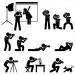 Photographer Cameraman Paparazzi Pose Posing Icon Symbol Sign Pictogram — Stock Vector