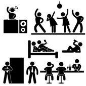 Pub dyskoteka klub nocny bar strony ikony symbol znak piktogram — Wektor stockowy