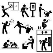 Złe morale wandalizmu gangsterskie ikony symbol znak piktogram — Wektor stockowy